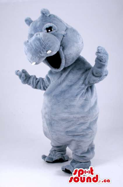 Customised All Grey Peculiar Hippopotamus Animal Plush Mascot SpotSound Canada