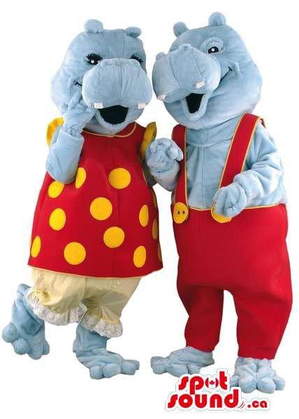 Grey Hippopotamus Couple Mascot SpotSound Canadas With Customised Gear