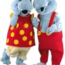Grey Hippopotamus Couple Mascot SpotSound Canadas With Customised Gear