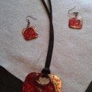 Red/Copper Handmade Necklace w/Earrings