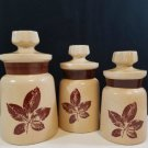 Vintage Signed MD Retro Leaf Pattern Ceramic Canister Set