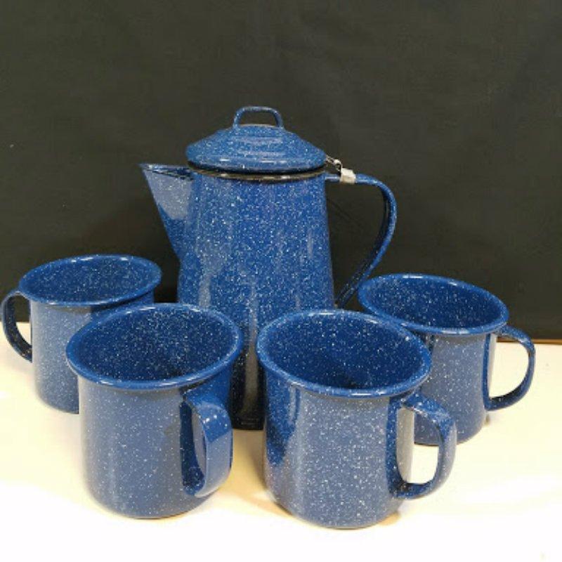 Blue Speckled Enamel Coffee Teapot Kettle Set 10 Pcs