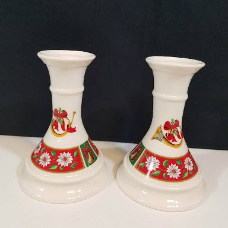 Charlton Hall Kobe Classic Traditions Japan Christmas Candlestick Holders
