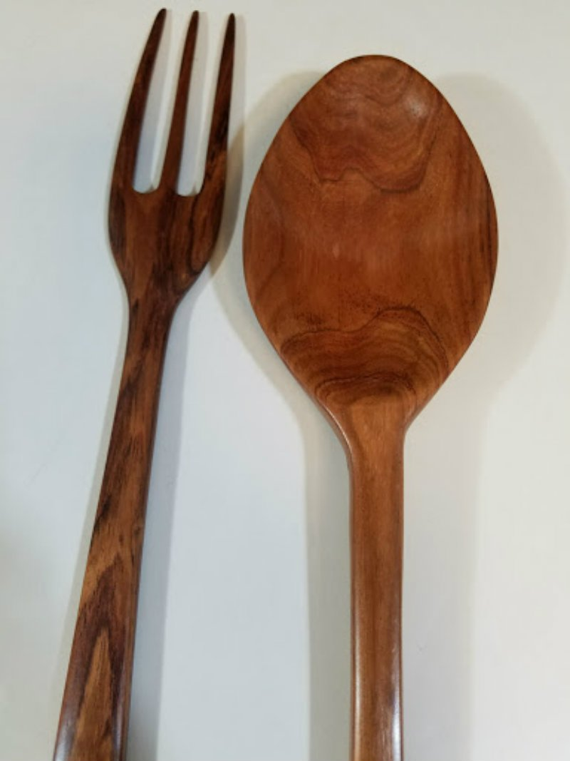 Mahogany Wooden Spoon and Fork Set