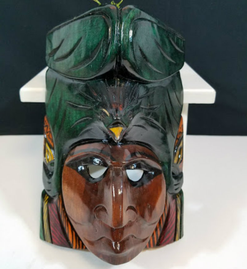 Hand Carved Wooden Mask Mayan Culture Collector Piece CM4