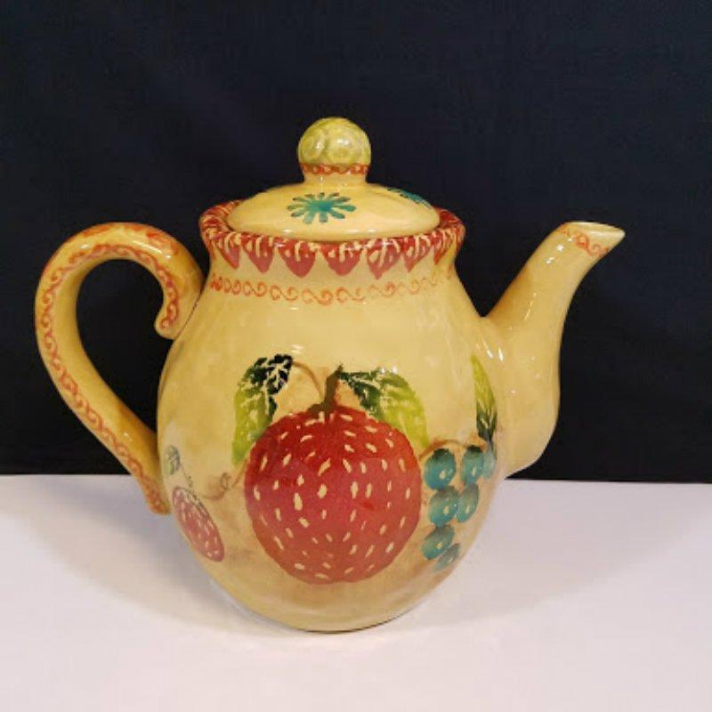 Teapot Fruit Golden Yellow Holds 12 Cups