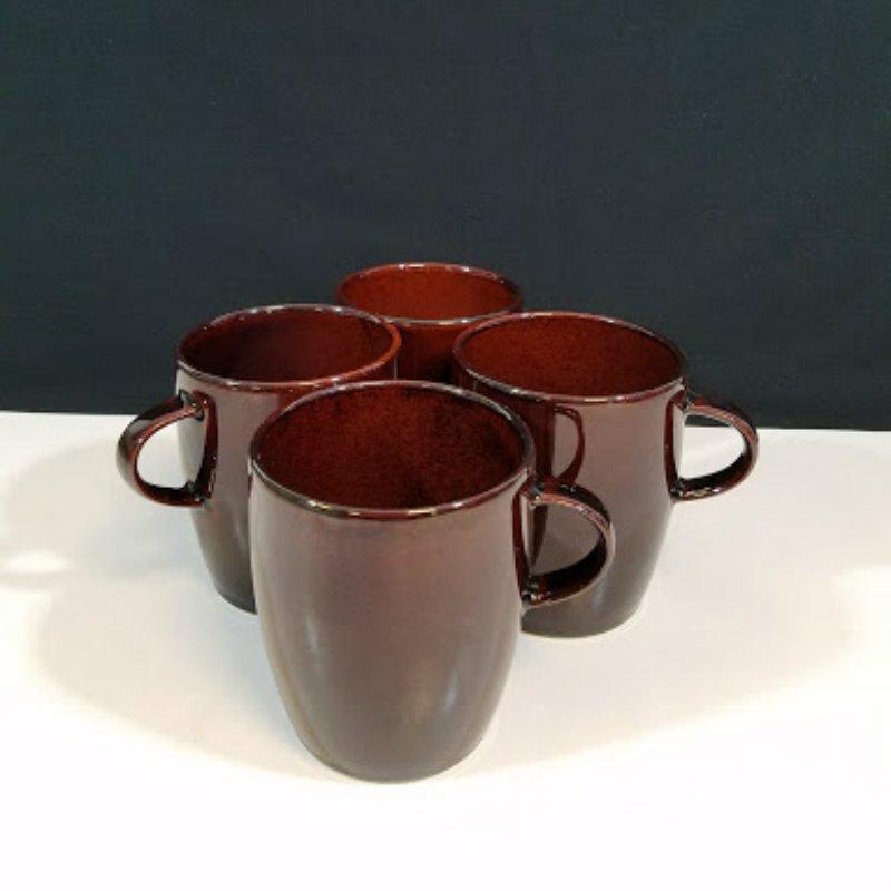 Crate and Barrel Japan Set of 4 Brown Coffee Mugs