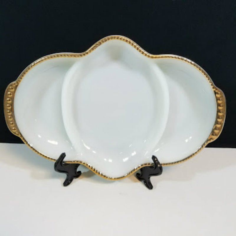 Fire King Milk Glass Divided Relish Dish
