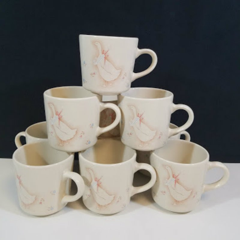 Corelle Country Promenade Geese Pattern Coffee Mugs Cups Set of 10