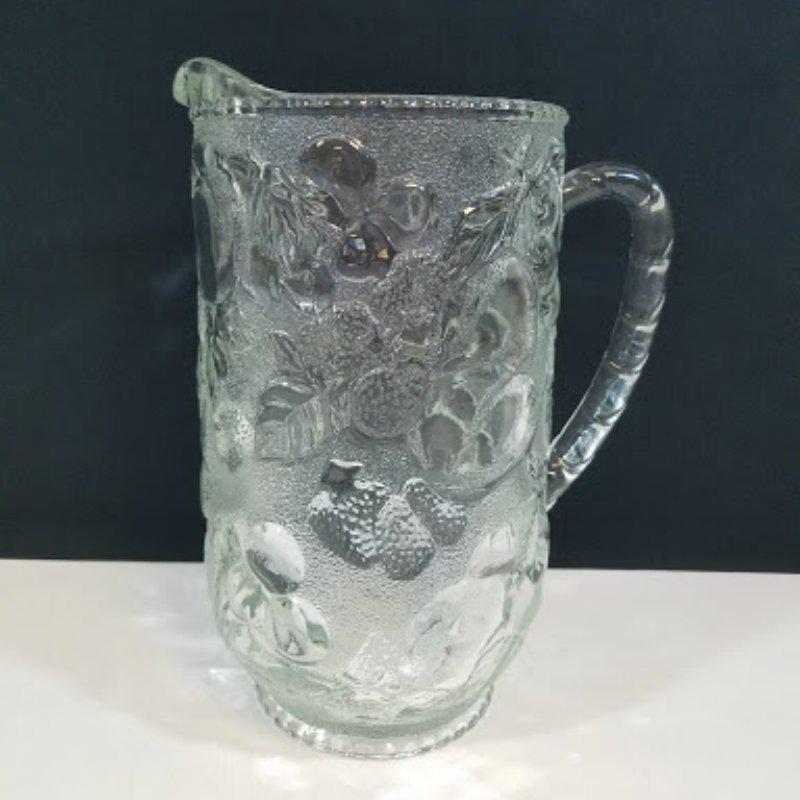 Glass Pitcher Embossed Fruit Design