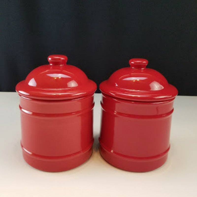 Home Ceramic Red Canister 2 Pcs Set
