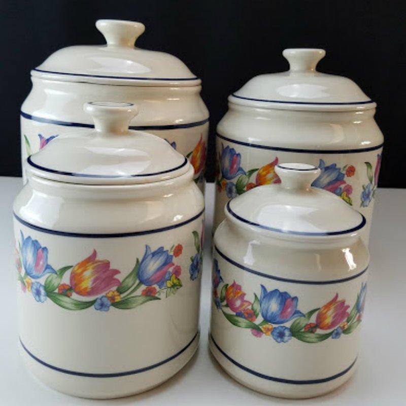 Corelle Coordinates Ceramic Fresh Cut 4 Pcs Canister Set