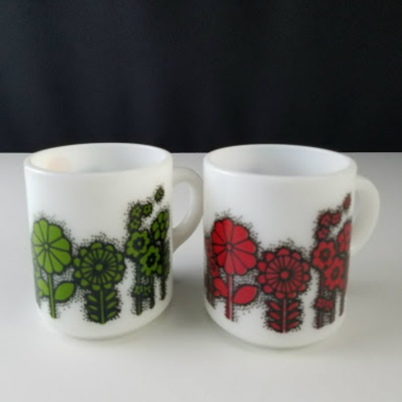 Vintage Milk Glass Mugs Red and Green Flowers Set of 2