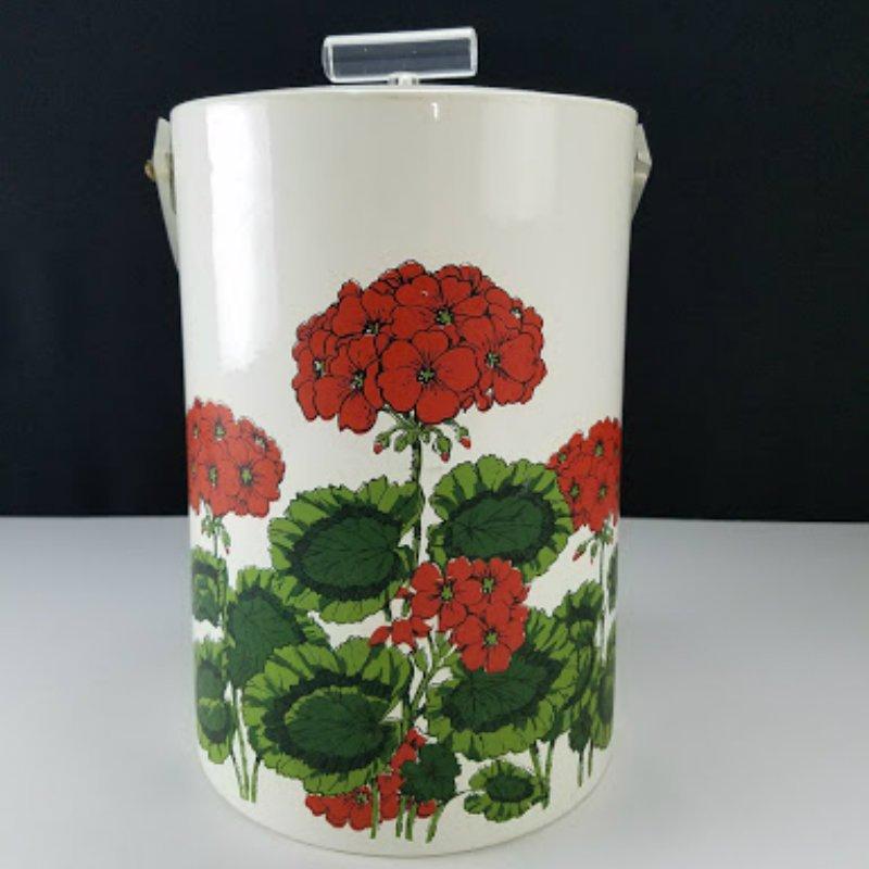Vintage Georges Briard Ice Bucket Vinyl With Red Flowers