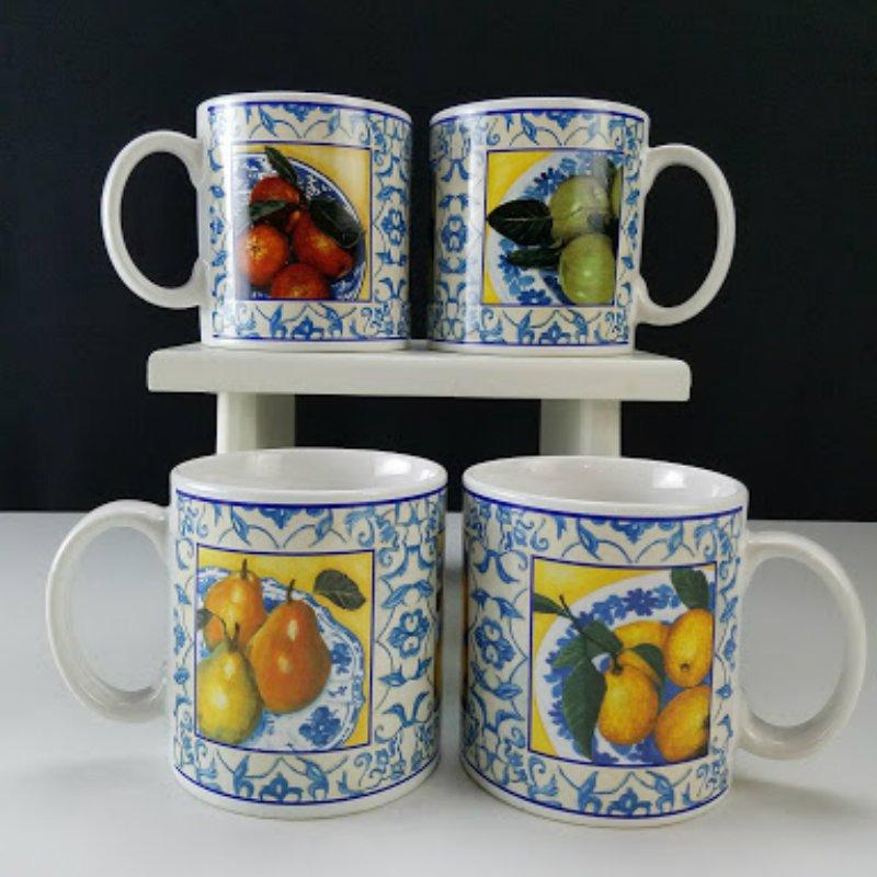 Sakura Fruit Scroll Stoneware Mugs Set of 4