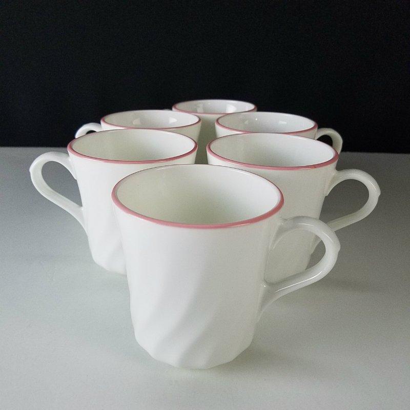 Corelle Enhancements White Swirl Pink Trim Mugs Set of 6