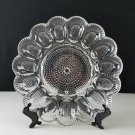 Indiana Glass Deviled Egg Serving Plate Tray Beaded Hobnail Pattern