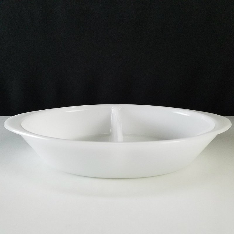 Glasbake White Divided Casserole Dish with Handles
