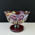 """Vintage Indiana Sunset Red Carnival Glass Pedestal Bowl 5"""" Tall"""