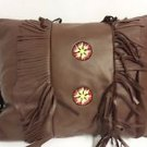 Wooded River Yellowstone Deerskin Leather Decorative Pillow - One Pillow