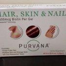 Purvana Hair Skin & Nail Biotin Softgels 30 ct - Expires 04/2017