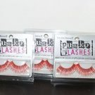 3 Pack Jerome Russell Punky Eye Lashes, Red Silver