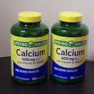 2 Pack Spring Valley Calcium 600 mg, 250 Coated Tablets Each