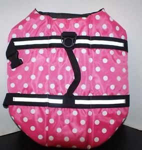 Doggy Pet Life Vest Jacket Pink and White Polka Dot Large 50-90lbs