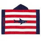 Pottery Barn Kids Classic Rugby Shark Nursery Beach Wrap Red & Navy BENNY