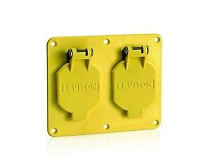 Leviton 3263W-Y 2-Gang, 1.56-Inch Diameter, Single Receptacle Coverplate, Yellow