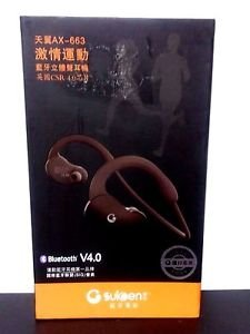 Suicen AX-663 In-ear Bluetooth V4.0 Stereo Headset Headphones - Black