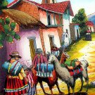 Cuzco Chincheros Glass Painting Picture Lamas Llamas Andean Peru