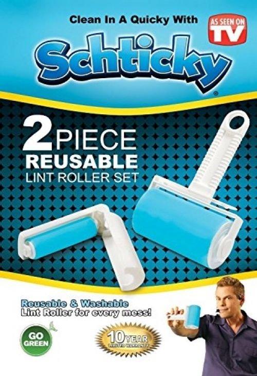 NEW ~ SCHTICKY 2 PIECE REUSABLE LINT ROLLER SET