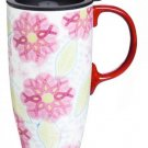 Pink Ribbons Of Courage Ceramic Coffee Travel Cup With Gift Box