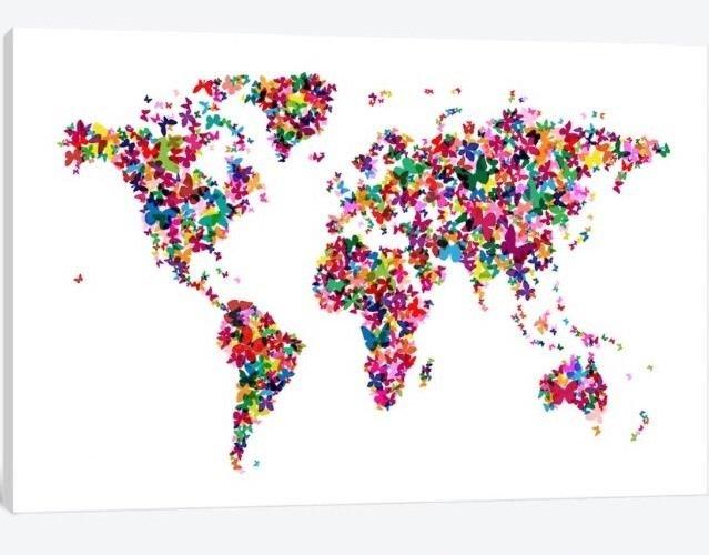 Icanvas Butterflies World Map 8895 Size 40x26