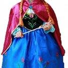 Princess Anna Lace Paisley Chiffon Cosplay Costume Play Long Dress For Girls