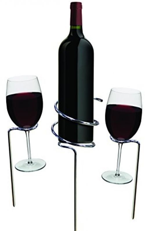 Basily Wine Stake Set - Holds Your Wine And Glasses In The Ground, Prevents And