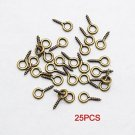25 Pcs Bronze Small Tone Eye Screw Eye Bail Finding For Jewelry£¬Charms, Into