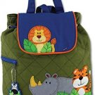 Stephen Joseph Quilted Backpack, Zoo, One Size
