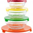 Imperial Home 10 Piece Glass Bowl: Wheat Emboss-Multi-Color Lids