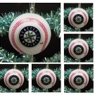 MLB Major League Baseball Seattle Mariners Set Of 6 Holiday Christmas Tree Team