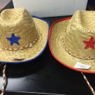 Kids Straw Cowboy Sheriff Party Hat W/star, 2pack One Red & One Blue
