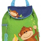 Stephen Joseph Toddler Boys Quilted Backpack Monkey Boy, Green/Brown/Blue, One