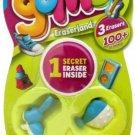 Gomu Eraserland Series 1 Erasers 3Pack 3 Random Eraser Figures