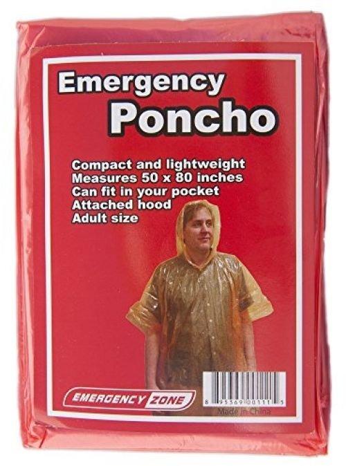 Emergency Poncho, Emergency Rain Gear, Weather Protection, Emergency Zone ®