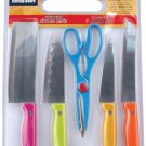 6-piece Cutlery Set with Knives, Shears and Cutting Board, Vibrant Colors