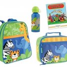 Stephen Joseph Go Go Backpack, Lunch Box, Bottle and Coloring Book, Zoo (2016)