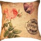 Retro Vintage Postmark Butterfly Flower Cotton Linen Home Pillow Case Cushion