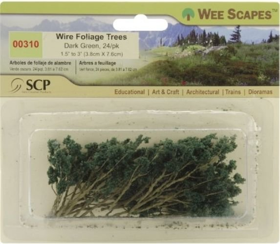 Wee Scapes Architectural Model Trees Wire Foliage Trees (dark Green) 1 1/2 In.