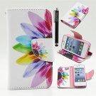 5S Case, Iphone 5 5S Wallet CASE - Colorful Sunflower Pattern Premium PU Wallet